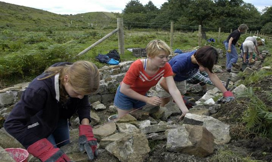 Young people building drystone wall